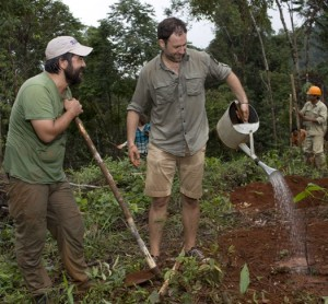 Samuel Maruta and Vincent Mourou planting cacao in Vietnam